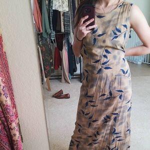 Vintage Brown Sleeveless Maxi Dress